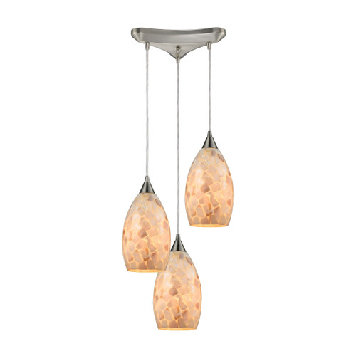 ELK Lighting 10443/3 Capri 3-Light Triangular Pendant Fixture in Satin Nickel with Capiz Shell Glass