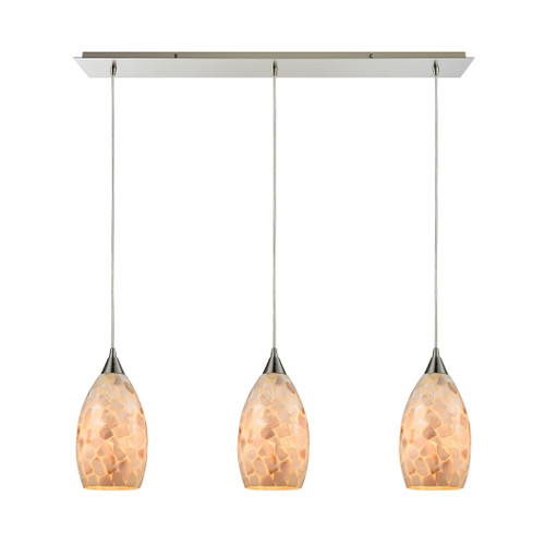 ELK Lighting 10443/3LP Capri 3-Light Linear Mini Pendant Fixture in Satin Nickel with Capiz Shell Glass