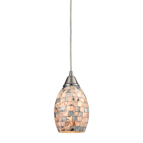 ELK Lighting 10444/1 Capri 1-Light Mini Pendant in Satin Nickel with Gray Capiz Shells on Glass