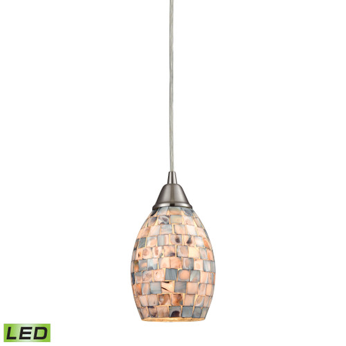 ELK Lighting 10444/1-LED Capri 1-Light Mini Pendant in Satin Nickel with Gray Capiz Shells on Glass - Includes LED Bulb