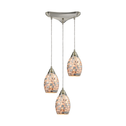 ELK Lighting 10444/3 Capri 3-Light Triangular Pendant Fixture in Satin Nickel with Gray Capiz Shells on Glass