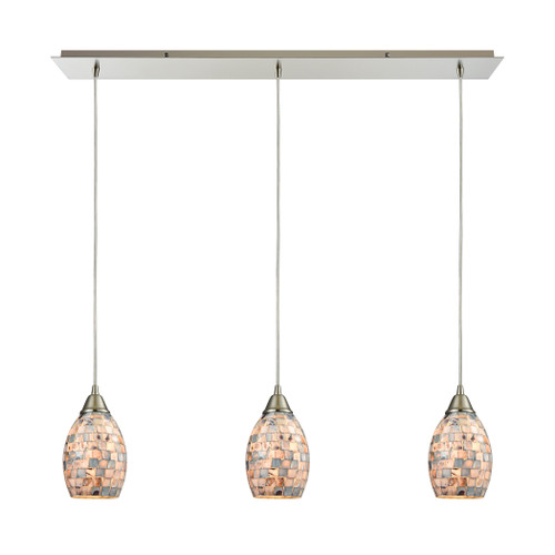 ELK Lighting 10444/3LP Capri 3-Light Linear Mini Pendant Fixture in Satin Nickel with Gray Capiz Shells on Glass