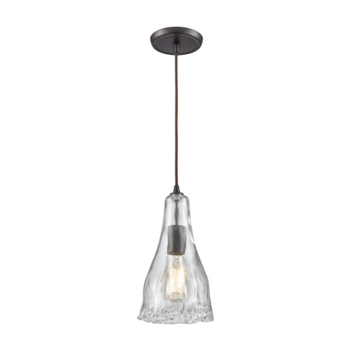 ELK Lighting 10446/1 Hand Formed Glass 1-Light Mini Pendant in Oiled Bronze with Clear Hand-formed Glass