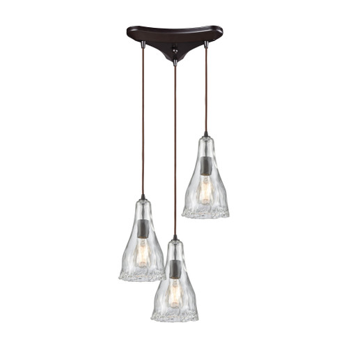 ELK Lighting 10446/3 Hand Formed Glass 3-Light Triangular Pendant Fixture in Oiled Bronze with Clear Hand-formed Glass