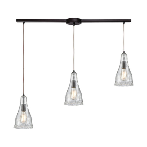 ELK Lighting 10446/3L Hand Formed Glass 3-Light Linear Mini Pendant Fixture in Oiled Bronze with Clear Hand-formed Glass
