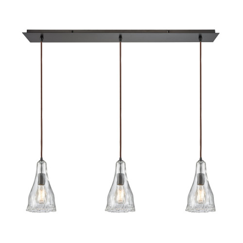 ELK Lighting 10446/3LP Hand Formed Glass 3-Light Linear Mini Pendant Fixture in Oiled Bronze with Clear Hand-formed Glass