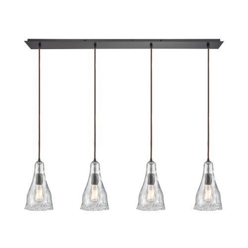 ELK Lighting 10446/4LP Hand Formed Glass 4-Light Linear Pendant Fixture in Oiled Bronze with Clear Hand-formed Glass