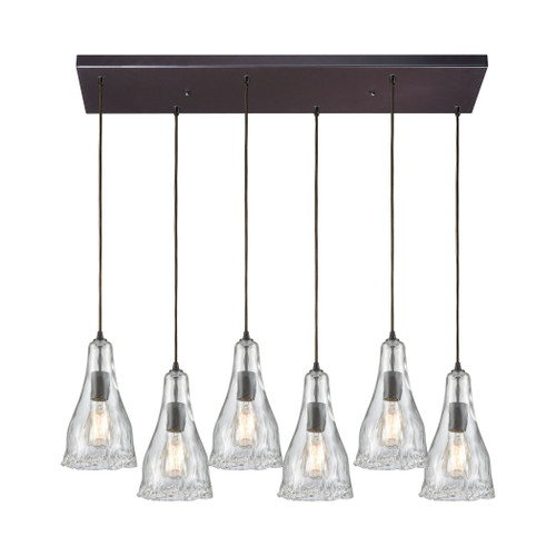 ELK Lighting 10446/6RC Hand Formed Glass 6-Light Rectangular Pendant Fixture in Oiled Bronze with Clear Hand-formed Glass