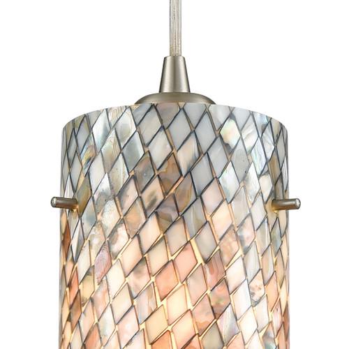 ELK Lighting 10447/1 Capri 1-Light Mini Pendant in Satin Nickel with Gray Capiz Shells on Glass