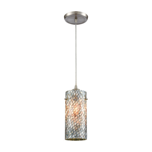 ELK Lighting 10447/1 Capri 1-Light Mini Pendant in Satin Nickel with Gray Capiz Shells on Glass