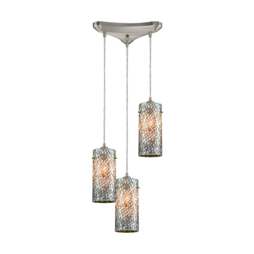 ELK Lighting 10447/3 Capri 3-Light Triangular Pendant Fixture in Satin Nickel with Gray Capiz Shells on Glass
