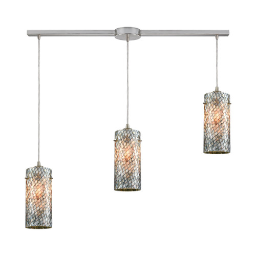 ELK Lighting 10447/3L Capri 3-Light Linear Mini Pendant Fixture in Satin Nickel with Gray Capiz Shells on Glass