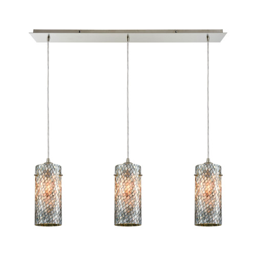 ELK Lighting 10447/3LP Capri 3-Light Linear Mini Pendant Fixture in Satin Nickel with Gray Capiz Shells on Glass