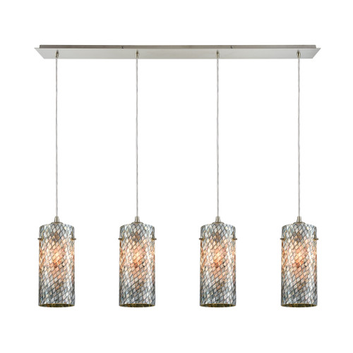 ELK Lighting 10447/4LP Capri 4-Light Linear Pendant Fixture in Satin Nickel with Gray Capiz Shells on Glass