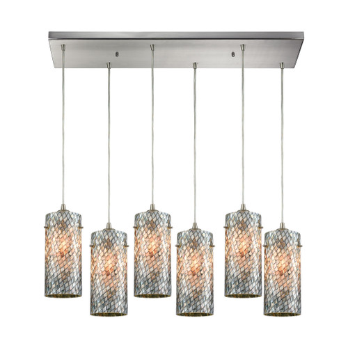 ELK Lighting 10447/6RC Capri 6-Light Rectangular Pendant Fixture in Satin Nickel with Gray Capiz Shells on Glass