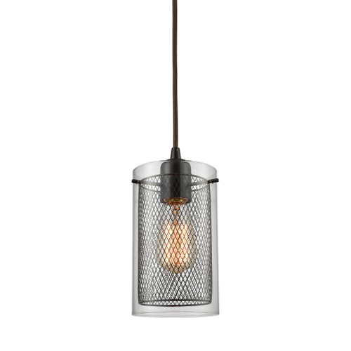 ELK Lighting 10448/1 Brant 1-Light Mini Pendant in Oiled Bronze with Clear Glass and Metal Fishnet Shade