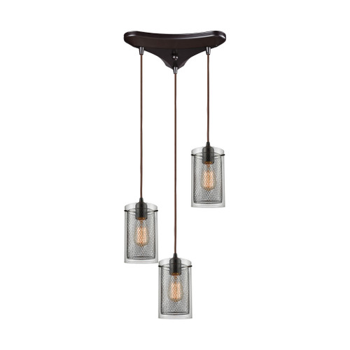 ELK Lighting 10448/3 Brant 3-Light Triangular Pendant Fixture in Oiled Bronze with Clear Glass and Metal Fishnet Shade