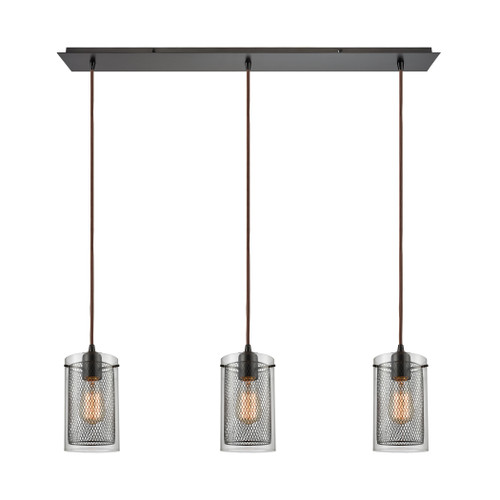 ELK Lighting 10448/3LP Brant 3-Light Linear Mini Pendant Fixture in Oiled Bronze with Clear Glass and Metal Fishnet Shade