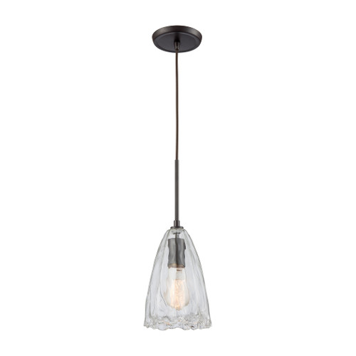 ELK Lighting 10459/1 Hand Formed Glass 1-Light Mini Pendant in Oiled Bronze with Clear Hand-formed Glass