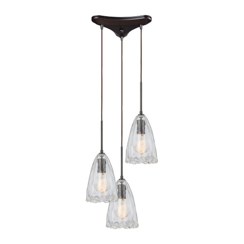 ELK Lighting 10459/3 Hand Formed Glass 3-Light Triangular Pendant Fixture in Oiled Bronze with Clear Hand-formed Glass