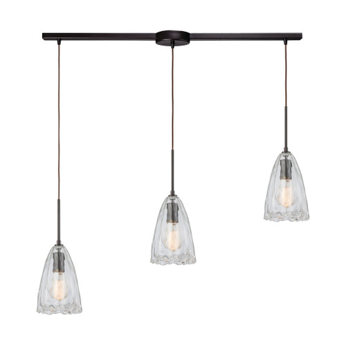 ELK Lighting 10459/3L Hand Formed Glass 3-Light Linear Mini Pendant Fixture in Oiled Bronze with Clear Hand-formed Glass