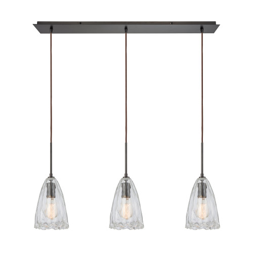 ELK Lighting 10459/3LP Hand Formed Glass 3-Light Linear Mini Pendant Fixture in Oiled Bronze with Clear Hand-formed Glass