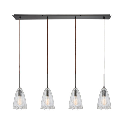 ELK Lighting 10459/4LP Hand Formed Glass 4-Light Linear Pendant Fixture in Oiled Bronze with Clear Hand-formed Glass