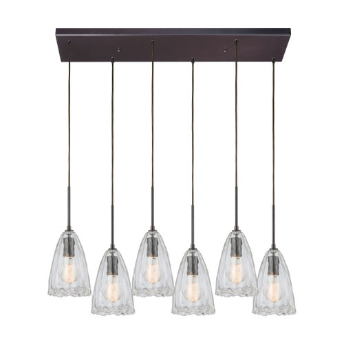 ELK Lighting 10459/6RC Hand Formed Glass 6-Light Rectangular Pendant Fixture in Oiled Bronze with Clear Hand-formed Glass