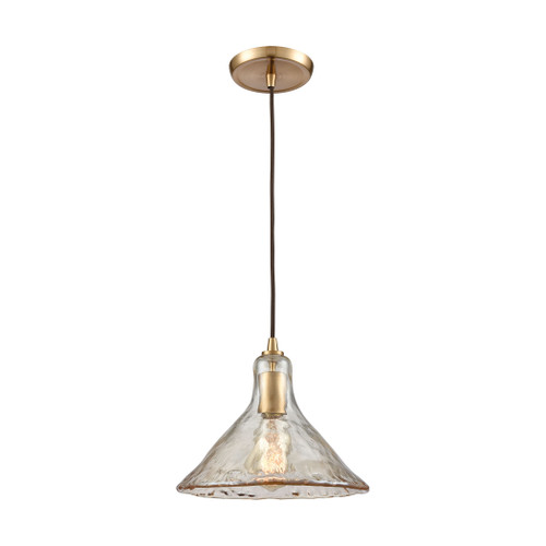 ELK Lighting 10486/1 Hand Formed Glass 1-Light Mini Pendant in Satin Brass with Champagne-plated Hand-formed Glass