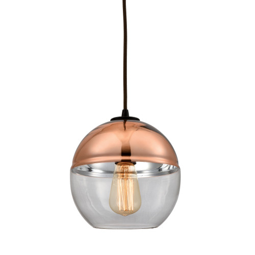 ELK Lighting 10490/1 Revelo 1-Light Mini Pendant in Oil Rubbed Bronze with Clear and Copper-plated Glass