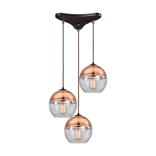 ELK Lighting 10490/3 Revelo 3-Light Triangular Pendant Fixture in Oil Rubbed Bronze with Clear and Copper-plated Glass
