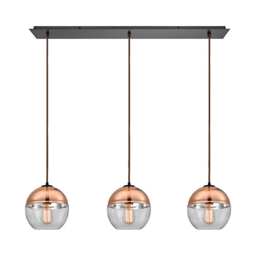 ELK Lighting 10490/3LP Revelo 3-Light Linear Mini Pendant Fixture in Oil Rubbed Bronze with Clear and Copper-plated Glass