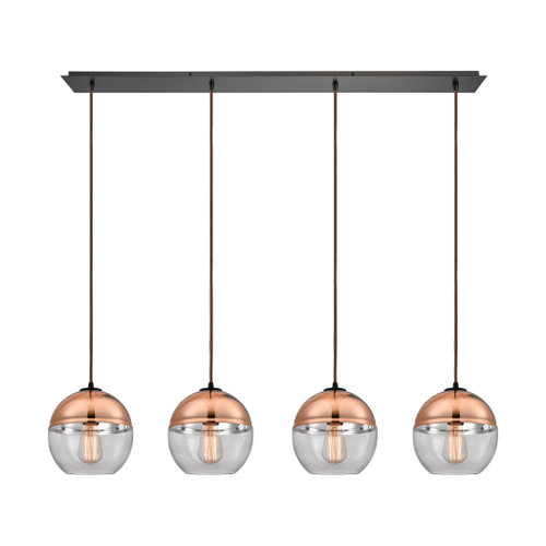 ELK Lighting 10490/4LP Revelo 4-Light Linear Pendant Fixture in Oil Rubbed Bronze with Clear and Copper-plated Glass