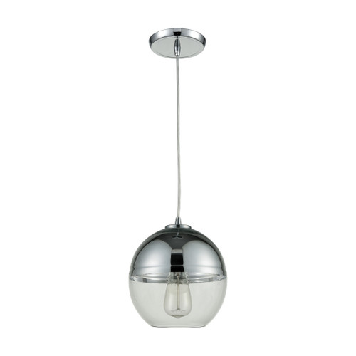 ELK Lighting 10492/1 Revelo 1-Light Mini Pendant in Polished Chrome with Clear and Chrome-plated Glass