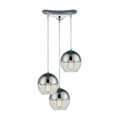 ELK Lighting 10492/3 Revelo 3-Light Triangular Pendant Fixture in Polished Chrome with Clear and Chrome-plated Glass