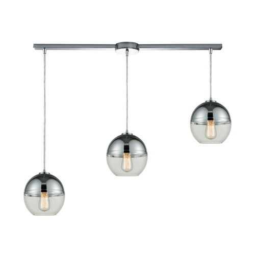 ELK Lighting 10492/3L Revelo 3-Light Linear Mini Pendant Fixture in Polished Chrome with Clear and Chrome-plated Glass