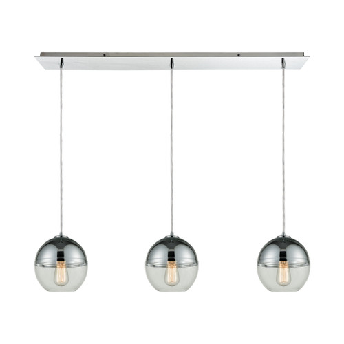 ELK Lighting 10492/3LP Revelo 3-Light Linear Mini Pendant Fixture in Polished Chrome with Clear and Chrome-plated Glass