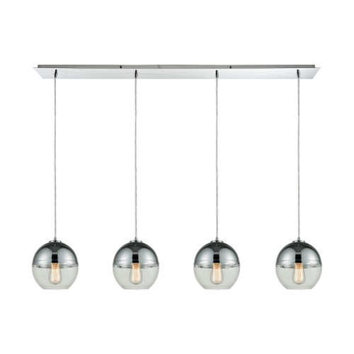 ELK Lighting 10492/4LP Revelo 4-Light Linear Pendant Fixture in Polished Chrome with Clear and Chrome-plated Glass