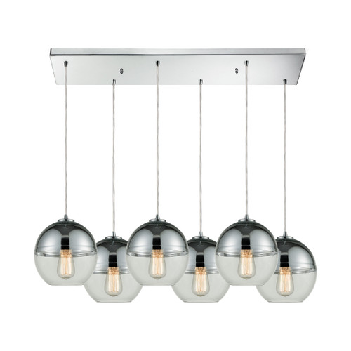 ELK Lighting 10492/6RC Revelo 6-Light Rectangular Pendant Fixture in Polished Chrome with Clear and Chrome-plated Glass