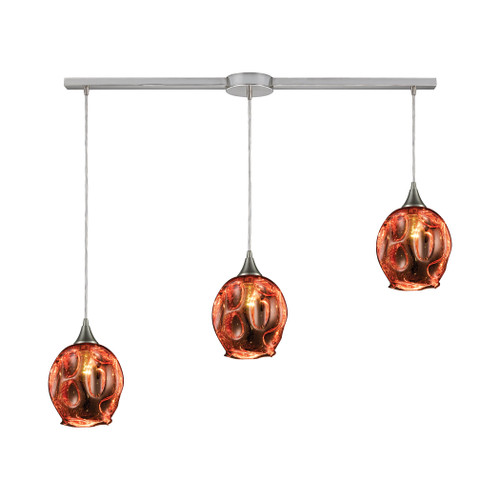 ELK Lighting 10502/3L Morph 3-Light Linear Mini Pendant Fixture in Satin Nickel with Copper-plated Blown Glass
