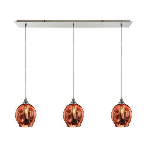 ELK Lighting 10502/3LP Morph 3-Light Linear Mini Pendant Fixture in Satin Nickel with Copper-plated Blown Glass