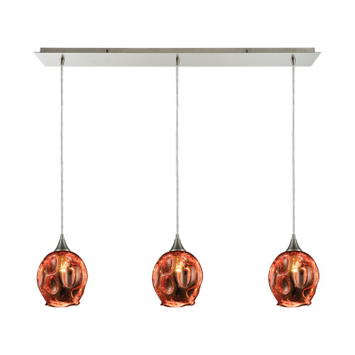 ELK Lighting 10502/3LP Morph 3-Light Linear Mini Pendant Fixture in Satin Nickel with Copper-plated Blown Glass