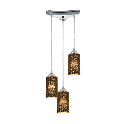 ELK Lighting 10505/3 Illusions 3-Light Triangular Pendant Fixture in Polished Chrome with Sage Mercury Mirror Glass