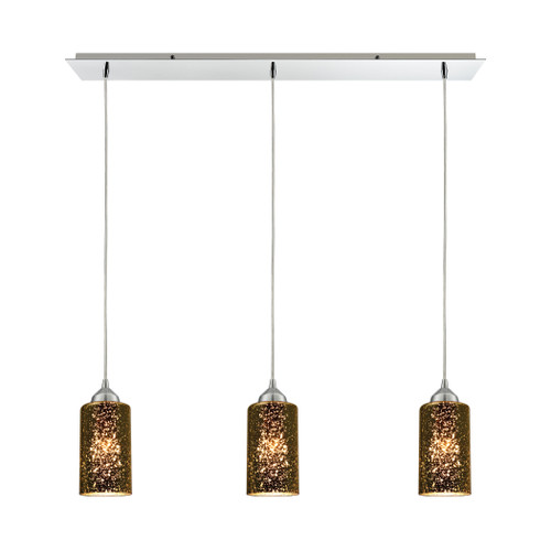 ELK Lighting 10505/3LP Illusions 3-Light Linear Mini Pendant Fixture in Polished Chrome with Sage Mercury Mirror Glass