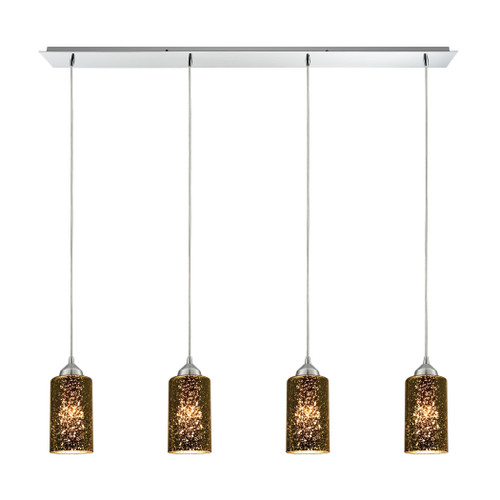 ELK Lighting 10505/4LP Illusions 4-Light Linear Pendant Fixture in Polished Chrome with Sage Mercury Mirror Glass
