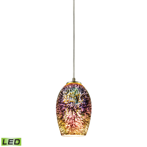ELK Lighting 10506/1-LED Illusions 1-Light Mini Pendant in Satin Nickel with Fireworks Glass - Includes LED Bulb