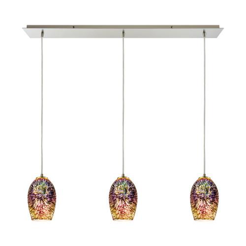 ELK Lighting 10506/3LP Illusions 3-Light Linear Mini Pendant Fixture in Satin Nickel with Fireworks Glass