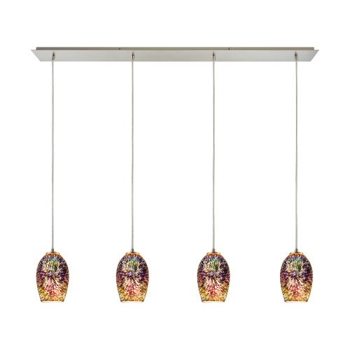 ELK Lighting 10506/4LP Illusions 4-Light Linear Pendant Fixture in Satin Nickel with Fireworks Glass
