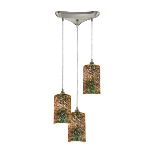 ELK Lighting 10508/3 Illusions 3-Light Triangular Pendant Fixture in Satin Nickel with 3-D Starburst Glass