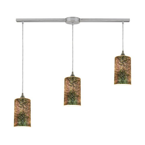 ELK Lighting 10508/3L Illusions 3-Light Linear Mini Pendant Fixture in Satin Nickel with 3-D Starburst Glass